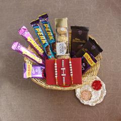 Chocolaty Treats in Basket - Rakhi with Cookies