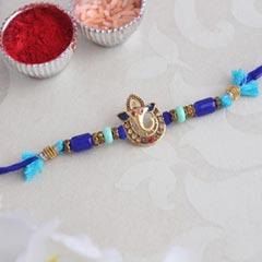 Blue Golden Ganesha Rakhi - Fancy Rakhi