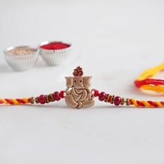 Lord Ganesha Golden Designer Rakhi