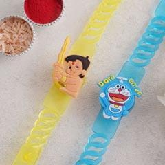 Chhota Bheem Rakhi and Doraemon Rakhi Set - Send Set of 2 Rakhi