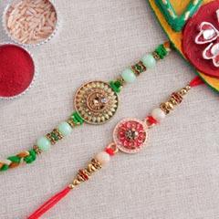 Set of Two Colorful Stone Rakhi - Send Set of 2 Rakhi