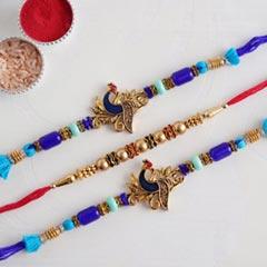 Two Peacock Rakhi and Beaded Rahi Set - Send Set of 3 Rakhi Online