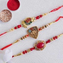Golden Rakhi Set of Three