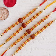 Set of Four Rudraksha Rakhi