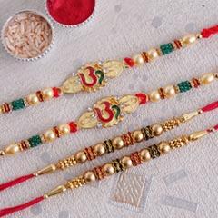 Golden OM and Beaded Rakhi Set of Four