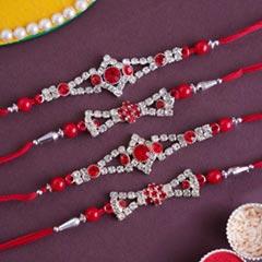 Stunning AD Rakhi Set of Four - Set of 4 Rakhi