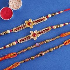 Stone and Beaded Rakhi Set of Four