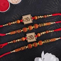 Wooden and Rudraksha Rakhi Set of Four - Set of 4 Rakhi