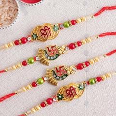 Divine Golden Rakhi Set of Four