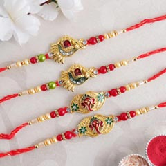 Auspicious Golden Rakhi Set of Four - Family Rakhi Sets