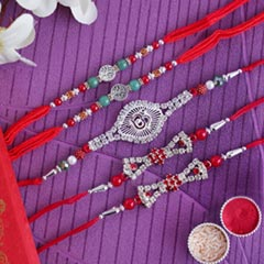 Stunning Silver Rakhi (Set of 5) - Set of 5 Rakhi