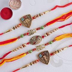 Set of 5 Divine Golden Rakhi - Set of 5 Rakhi