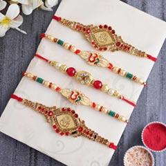 Designer Golden Rakhi Set for Brothers - Set of 5 Rakhi