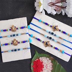 Gorgeous Blue Rakhi Set of 8 - Set of 8 Rakhi