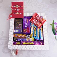 Set of 3 Rakhis with Chocolates Hamper