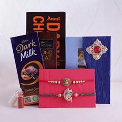 2 Designer Rakhis with Chocolates - Send Rakhi to Jaipur
