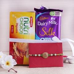 Golden Rakhi and Chocolates Combo