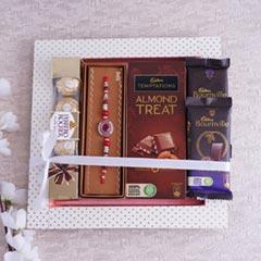 Stone Rakhi with Chocolates Hamper - Rakhi Gifts Online