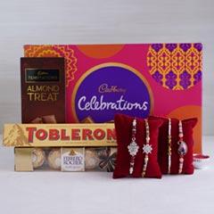 4 Designer Rakhis with Chocolates Hamper - Send Rakhi to Jaipur