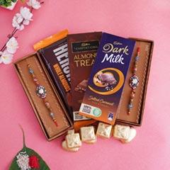 Classy Rakhi with Chocolates Hamper