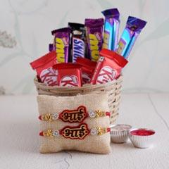 Bhai Rakhi with Chocolates Hamper