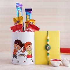 Designer Rakhi with Mug and Chocolates - Rakhi with Mug