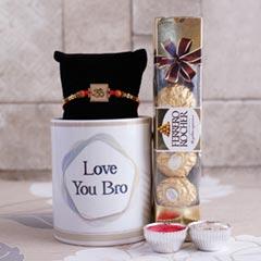 Message Mug with OM Rakhi - Rakhi with Mug