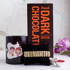 Black Mug with Golden Bracelet Rakhi - Premium Rakhis