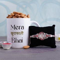 Silver Rakhi with Almonds and Mug - Rakhi with Mug