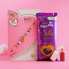 Golden Rakhi with Dairy Milk Silk