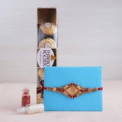 Golden Rakhi and Ferrero Rocher Combo