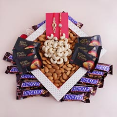Two Designer Rakhis with Dry Fruits N Chocolates