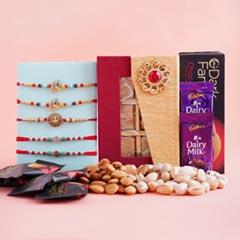 Five Rakhi Set with Chocolates N Dry Fruits