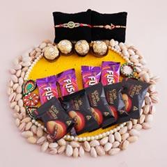 Two Designer Rakhis with Chocolates N pistachio