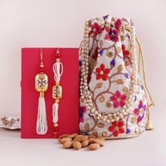 Bhaiya Bhabhi Rakhi with Almonds in Potli - Send Rakhi to Jaipur