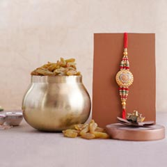 Golden Rakhi with Resins in Container