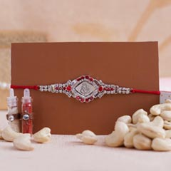 Designer Silver Rakhi with Cashews in Container
