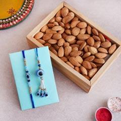 Bhaiya Bhabhi Evil Eye Rakhi with Almonds in Tray