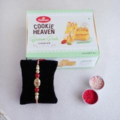 Golden Rakhi N Haldiram Badam Pista Cookies Combo