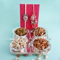 Bhaiya Bhabhi Rakhi with Dryfruits N Designer Tray - Premium Rakhis