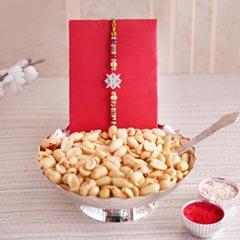 Designer Rakhi with Silver Bowl Set N Haldiram Peanuts