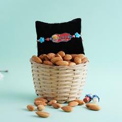 Netflix Rakhi with Almonds in Wooden Basket