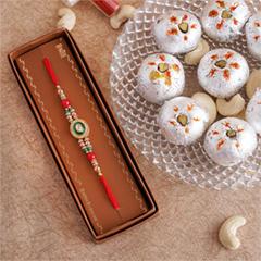 Designer Rakhi with Haldiram Kaju Laddu - Rakhi with Sweets