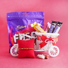 Designer Rakhi with Chocolate Combo
