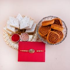 Antique Rakhi with Haldiram Sweets Gift Hamper - Premium Rakhis