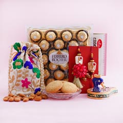 Bhaiya Bhabhi Rakhi with Almonds N Ferrero Rocher - Premium Rakhis