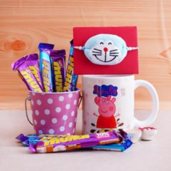 Doraemon Rakhi with Chocolate Bucket N Mug
