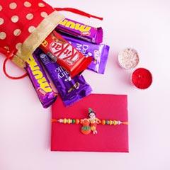 Krishna Kids Rakhi with Chocolates in Potli