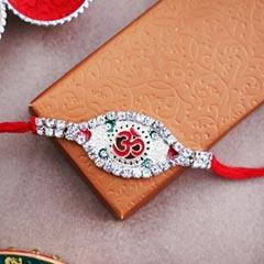 Silver OM Rakhi - Send Silver Rakhi Online