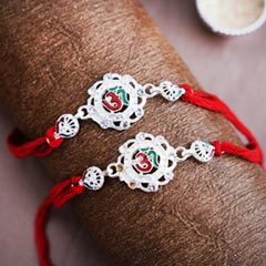 Two Silver OM Rakhis - Send Silver Rakhi Online